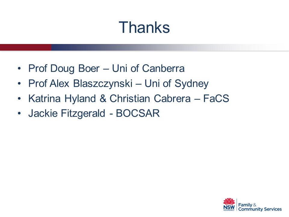 Thanks Prof Doug Boer – Uni of Canberra