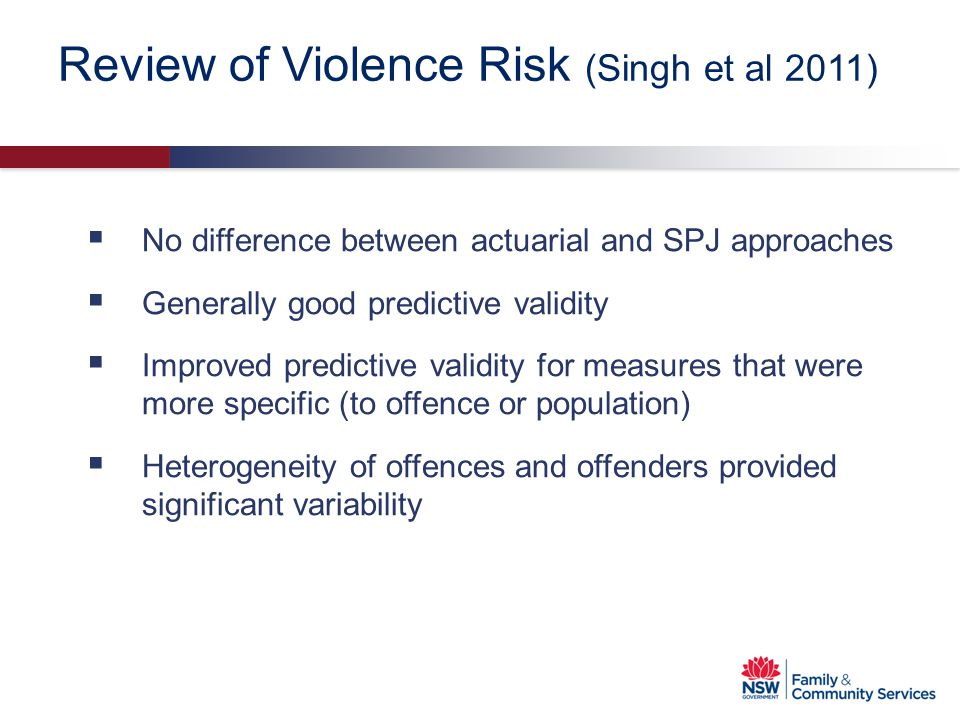 Review of Violence Risk (Singh et al 2011)