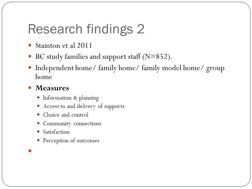 Research findings 2 Stainton et al 2011
