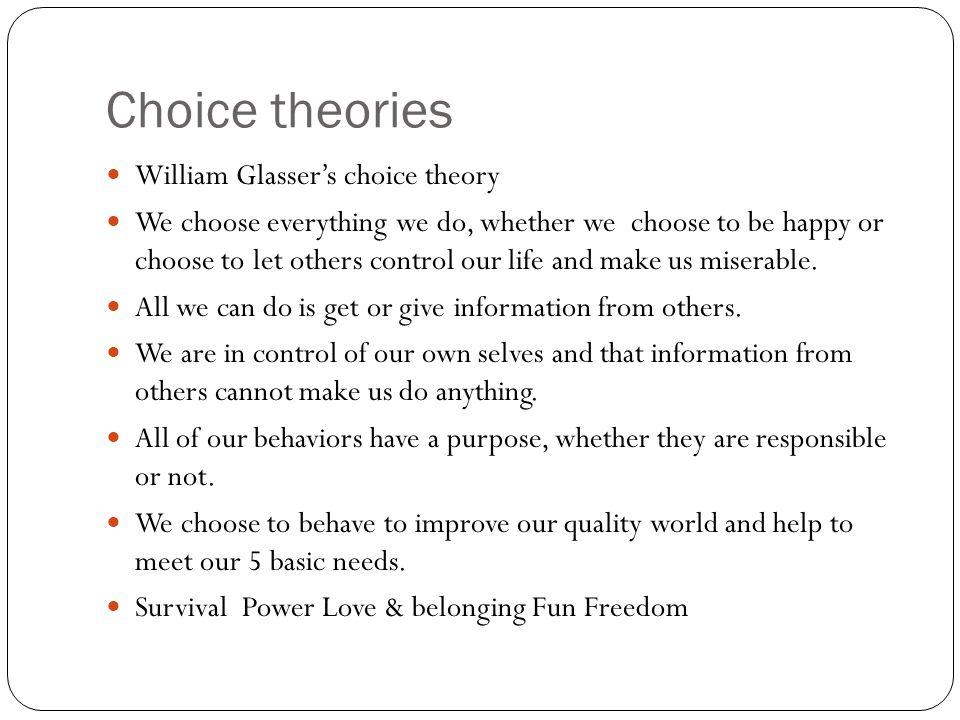 Choice theories William Glasser's choice theory