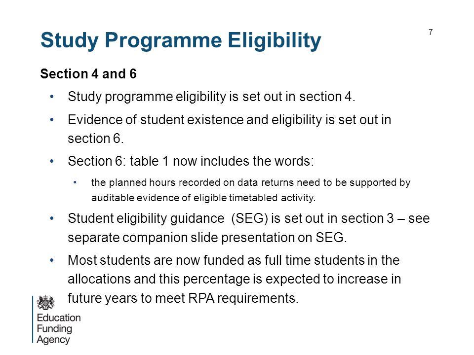 Study Programme Eligibility