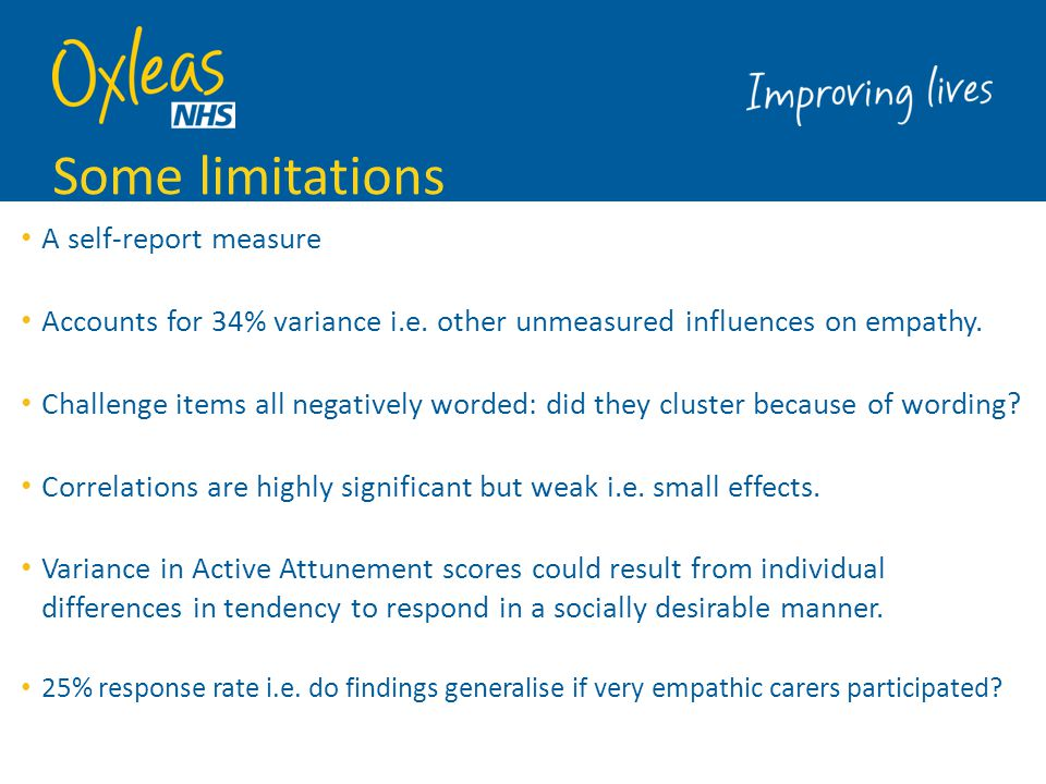 Some limitations A self-report measure