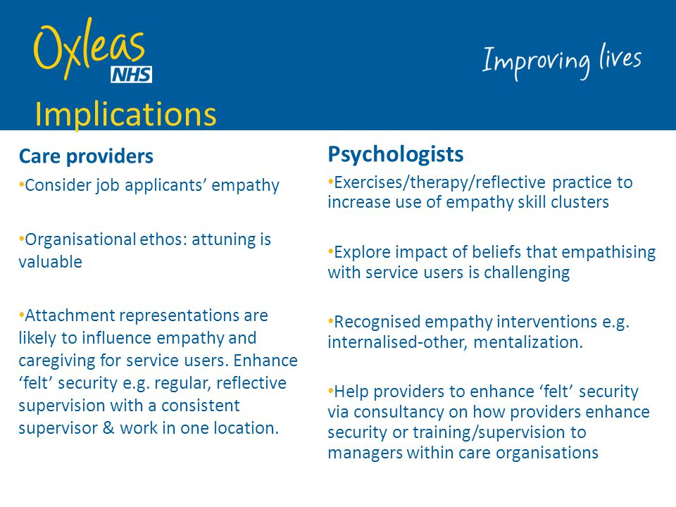 Implications Psychologists Care providers