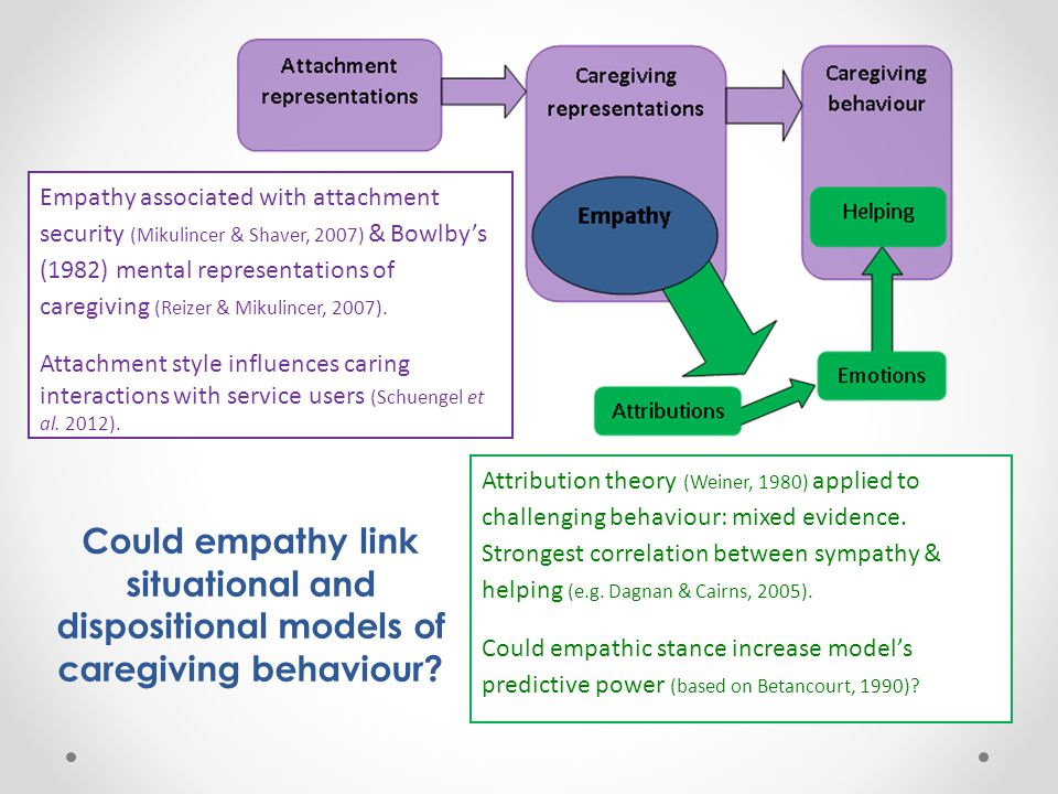 Empathy associated with attachment security (Mikulincer & Shaver, 2007) & Bowlby's (1982) mental representations of caregiving (Reizer & Mikulincer, 2007).
