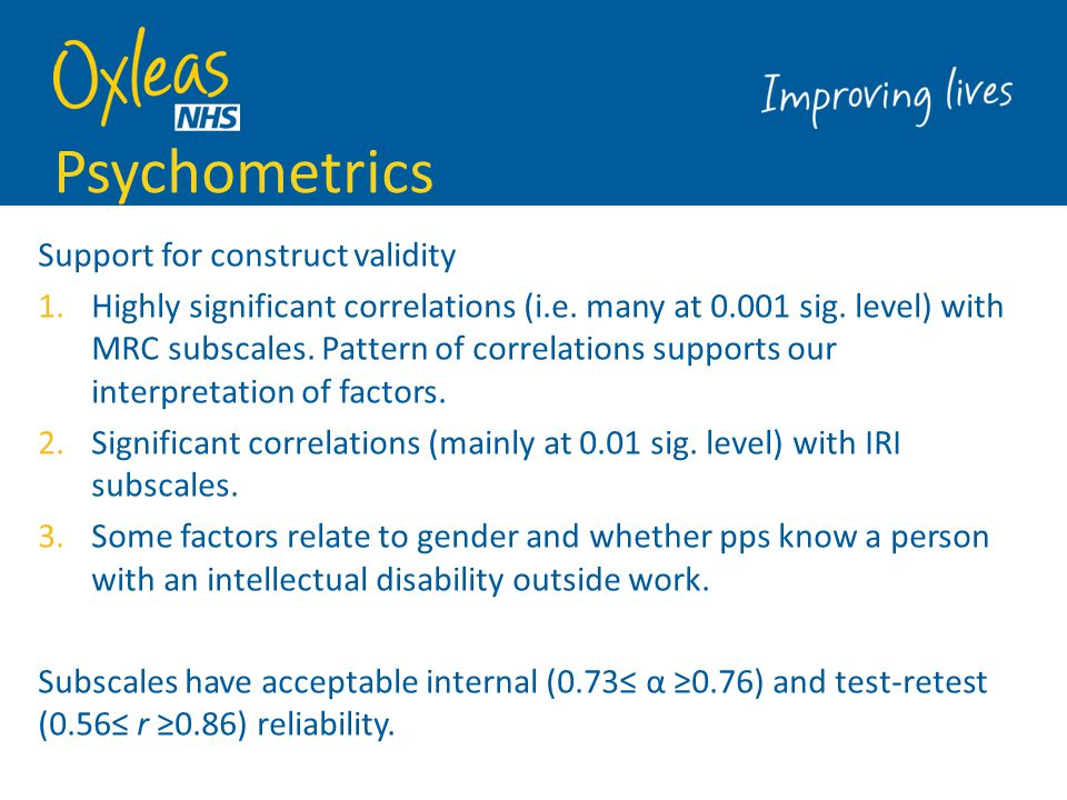 Psychometrics Support for construct validity
