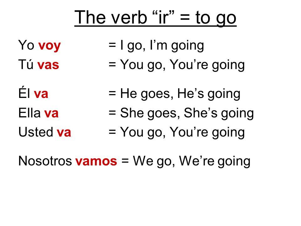 The verb ir = to go Yo voy = I go, I'm going