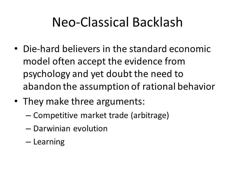Neo-Classical Backlash