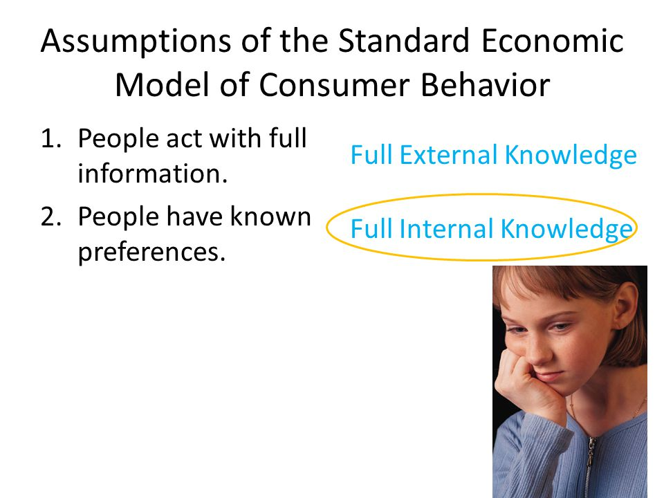 Assumptions of the Standard Economic Model of Consumer Behavior