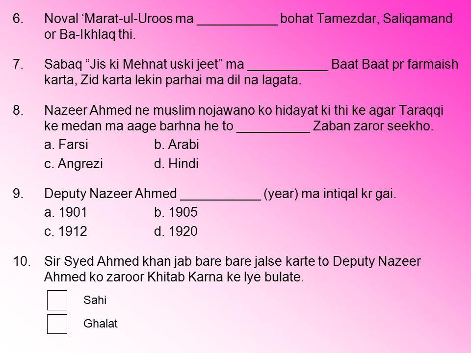 9. Deputy Nazeer Ahmed ___________ (year) ma intiqal kr gai.
