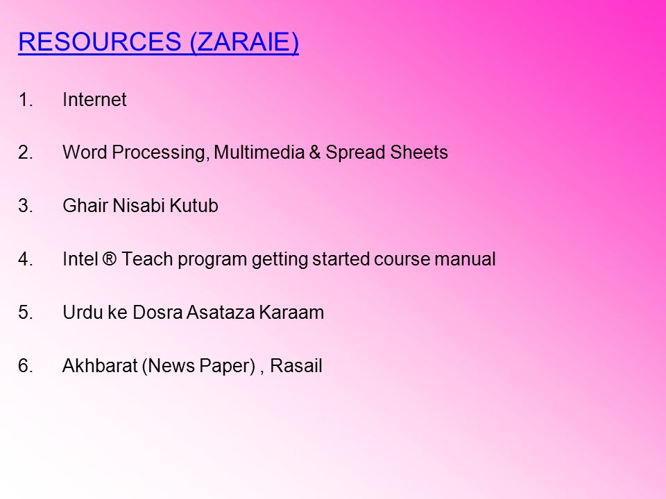 RESOURCES (ZARAIE) Internet