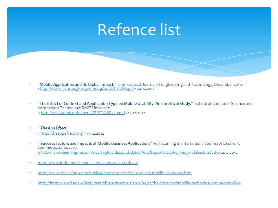 Refence list