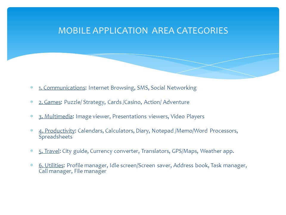 MOBILE APPLICATION AREA CATEGORIES