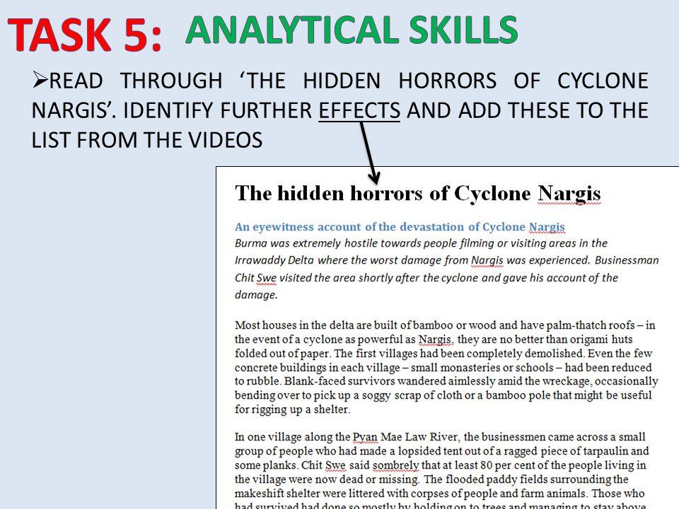 TASK 5: ANALYTICAL SKILLS