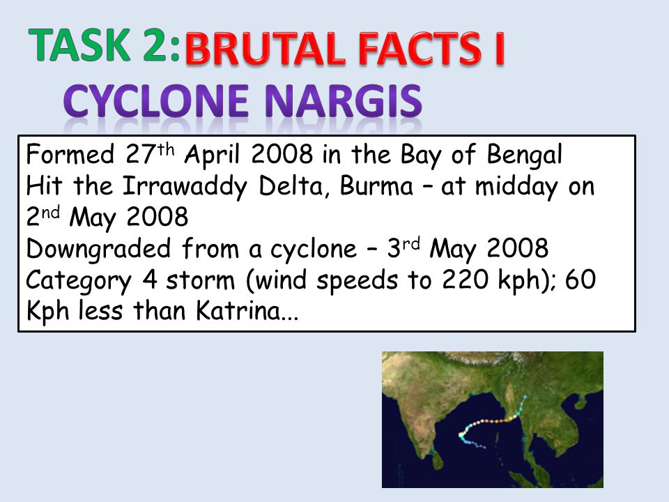TASK 2: BRUTAL FACTS I Cyclone nargis