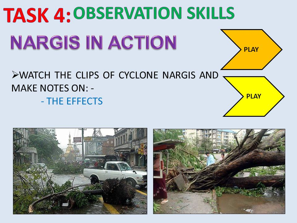 TASK 4: observation SKILLS NARGIS IN ACTION