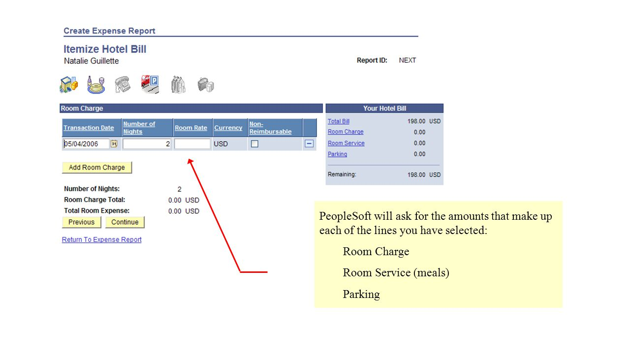 PeopleSoft will ask for the amounts that make up each of the lines you have selected: