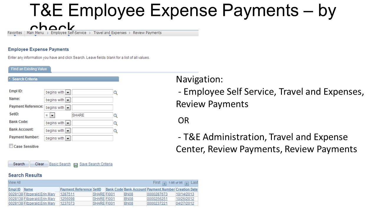 T&E Employee Expense Payments – by check
