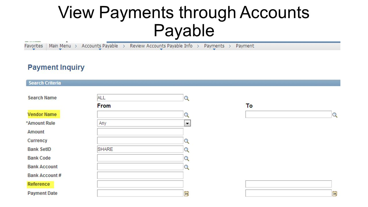 View Payments through Accounts Payable