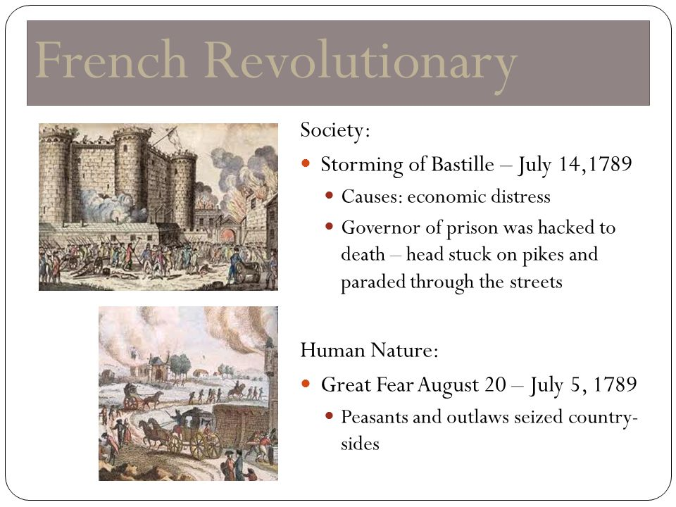 French Revolutionary Society: Storming of Bastille – July 14,1789