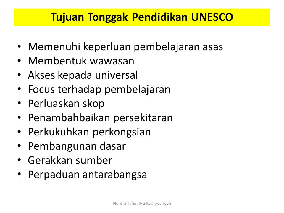 Tujuan Tonggak Pendidikan UNESCO