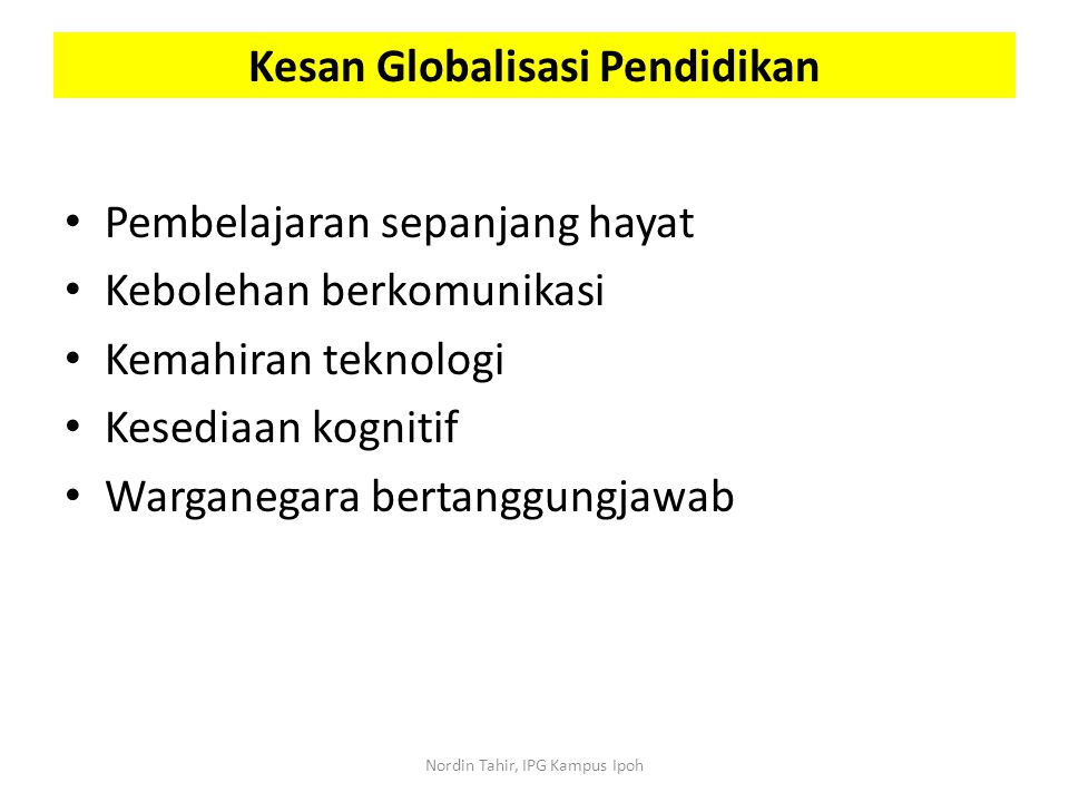 Kesan Globalisasi Pendidikan