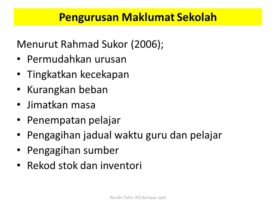Pengurusan Maklumat Sekolah