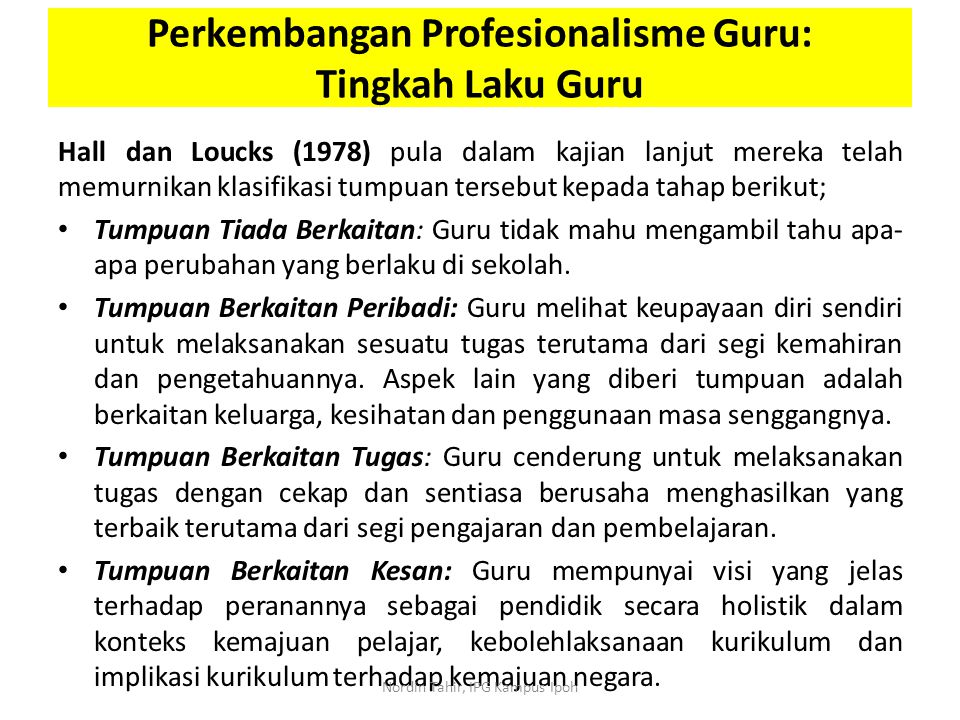 Perkembangan Profesionalisme Guru: