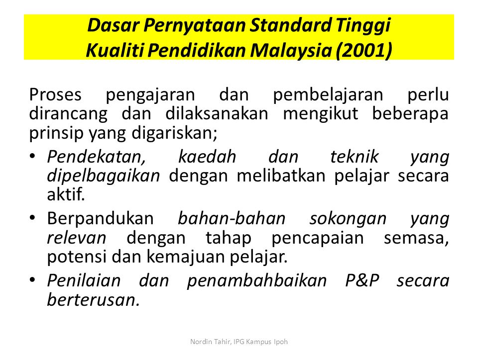 Dasar Pernyataan Standard Tinggi Kualiti Pendidikan Malaysia (2001)