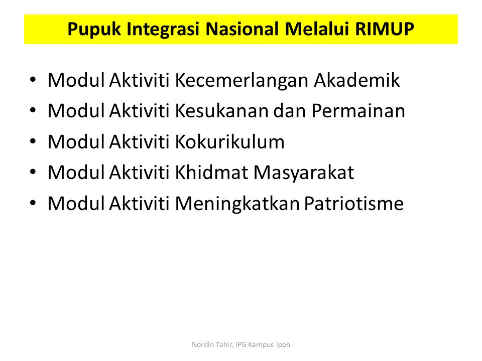 Pupuk Integrasi Nasional Melalui RIMUP