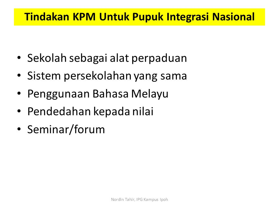Tindakan KPM Untuk Pupuk Integrasi Nasional