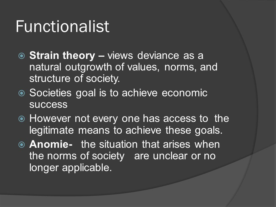 Functionalist Strain theory – views deviance as a natural outgrowth of values, norms, and structure of society.