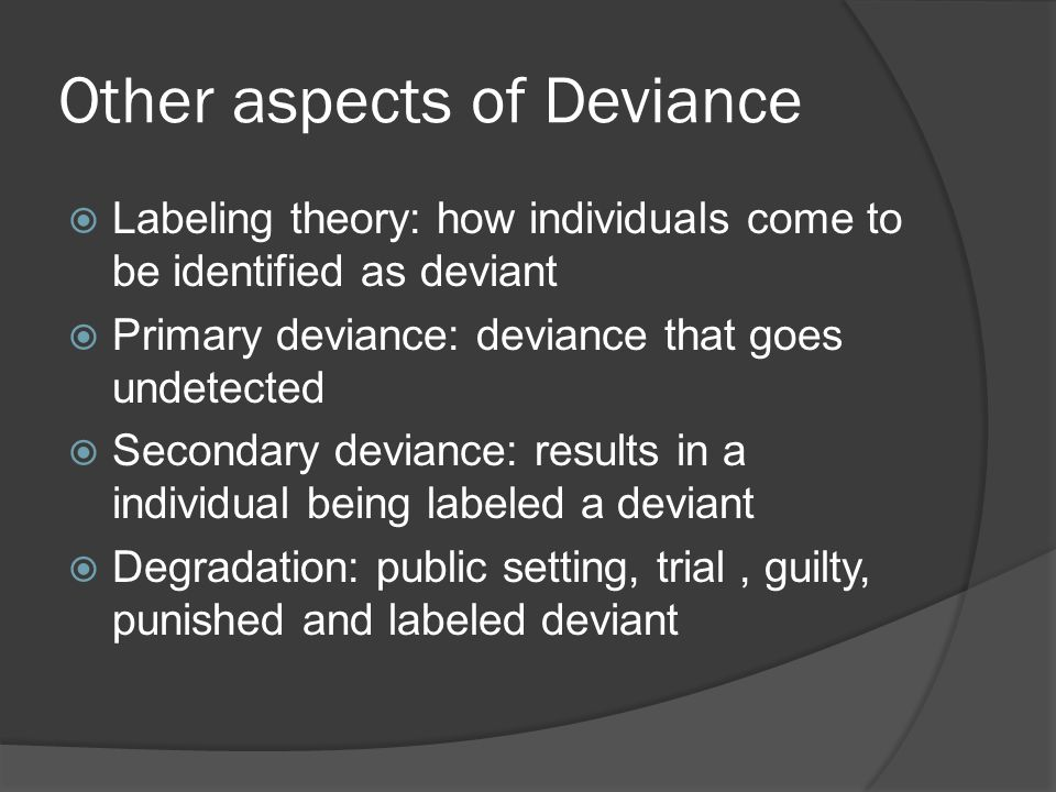 Other aspects of Deviance