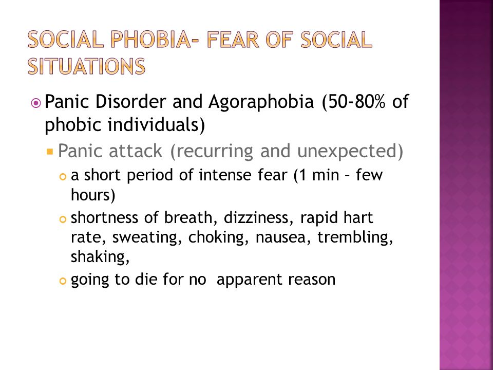 Social phobia- fear of social situations