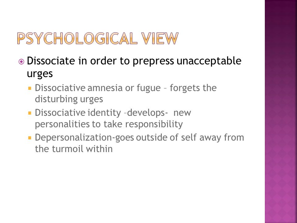Psychological view Dissociate in order to prepress unacceptable urges