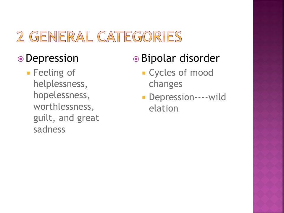 2 general categories Depression Bipolar disorder