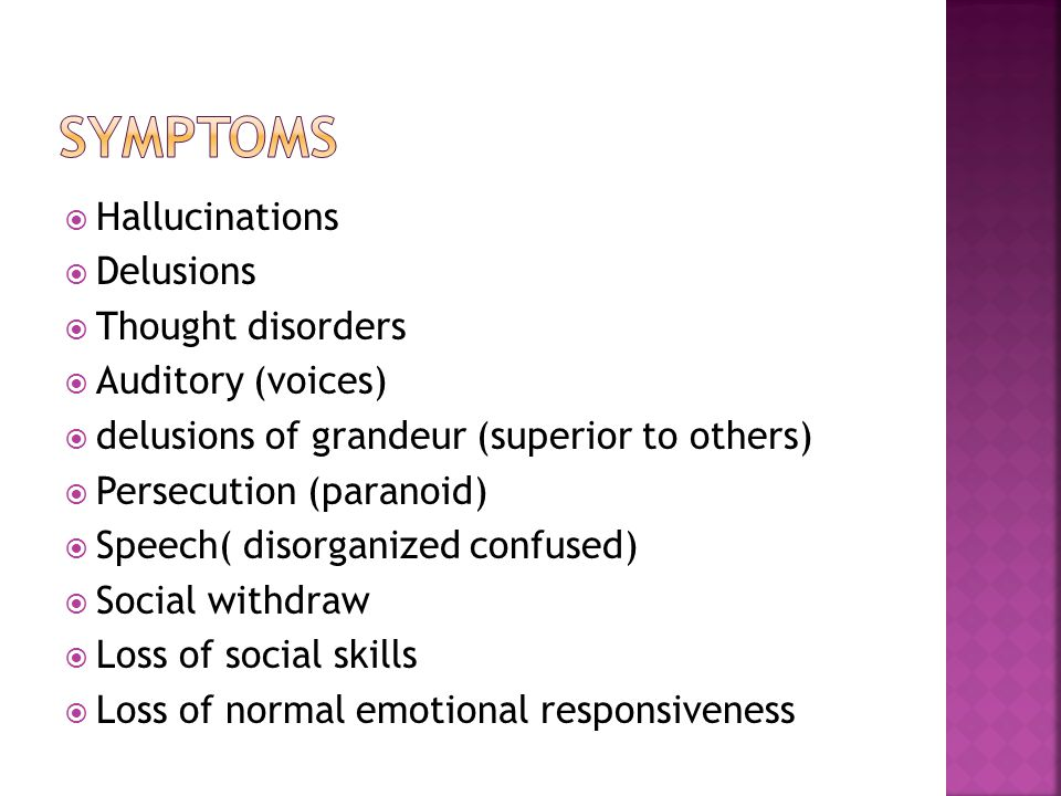symptoms Hallucinations Delusions Thought disorders Auditory (voices)
