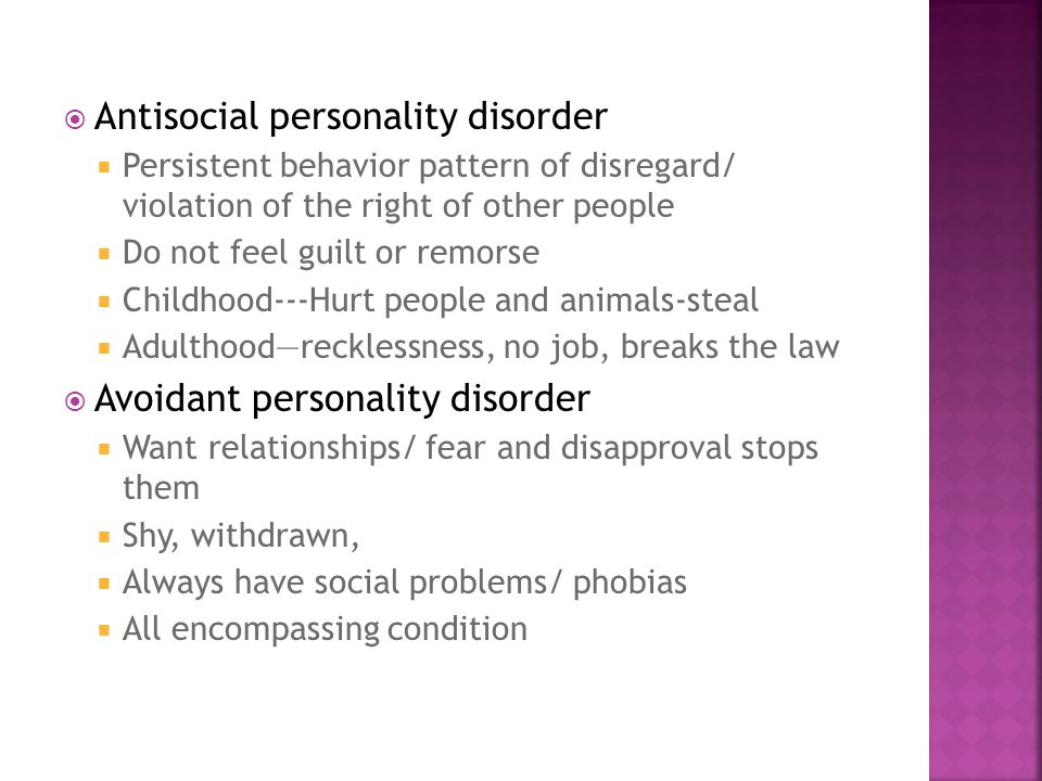 dating an antisocial personality disorder Sociopathy, also known as antisocial personality disorder, is marked by a pattern of antisocial behaviors that show a complete disregard for.