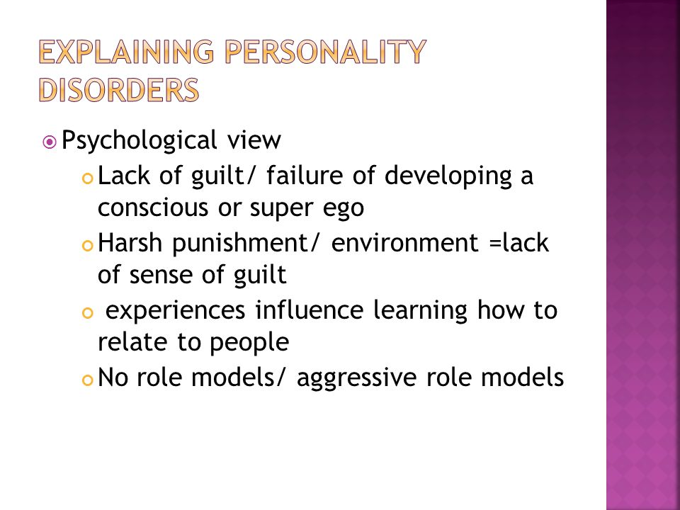 Explaining personality disorders