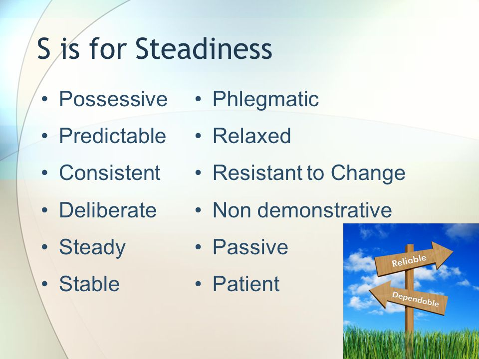 S is for Steadiness Possessive Predictable Consistent Deliberate