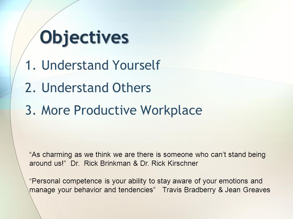 Objectives Understand Yourself Understand Others