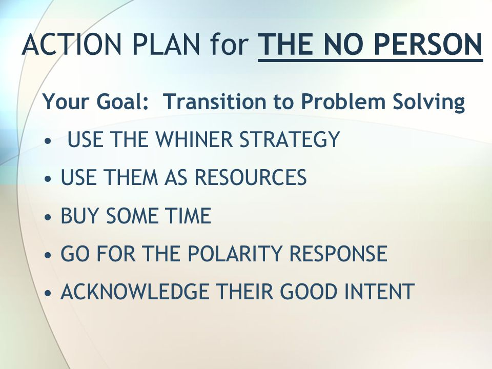 ACTION PLAN for THE NO PERSON