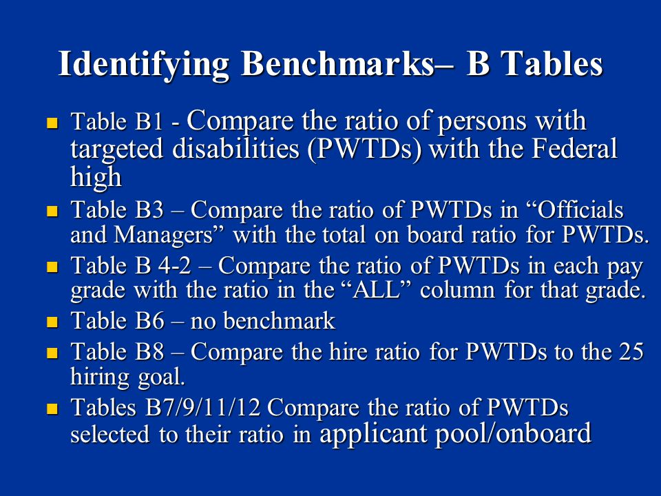 Identifying Benchmarks– B Tables