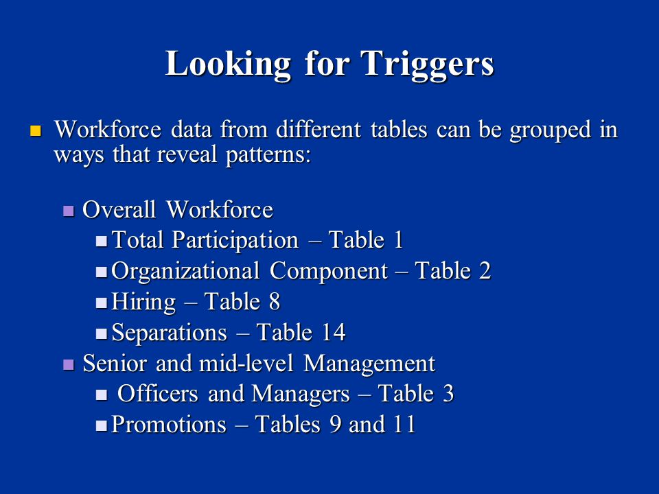 Looking for Triggers Workforce data from different tables can be grouped in ways that reveal patterns: