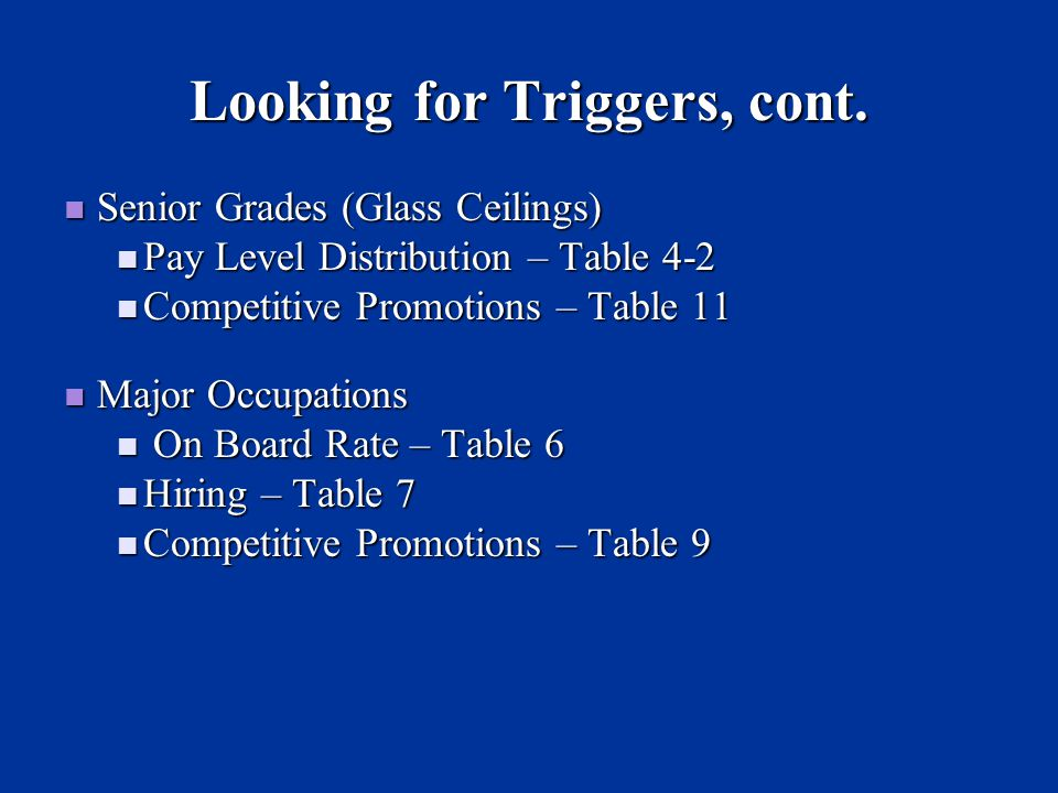 Looking for Triggers, cont.