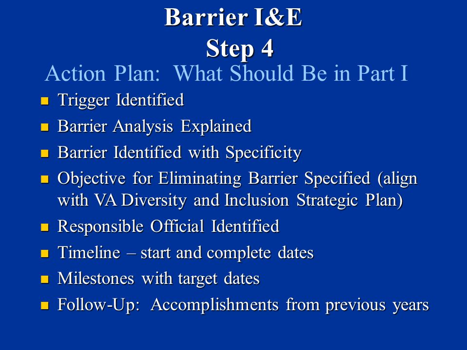 Action Plan: What Should Be in Part I