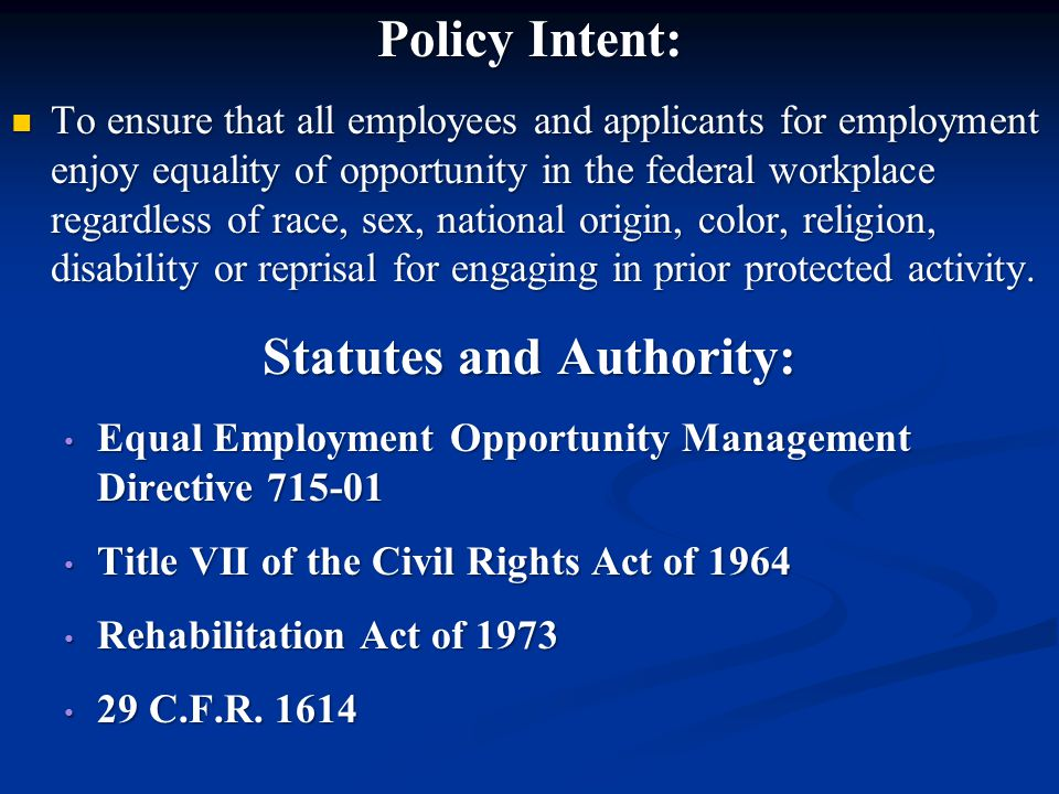 Statutes and Authority: