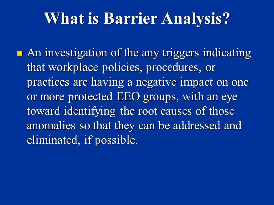 What is Barrier Analysis
