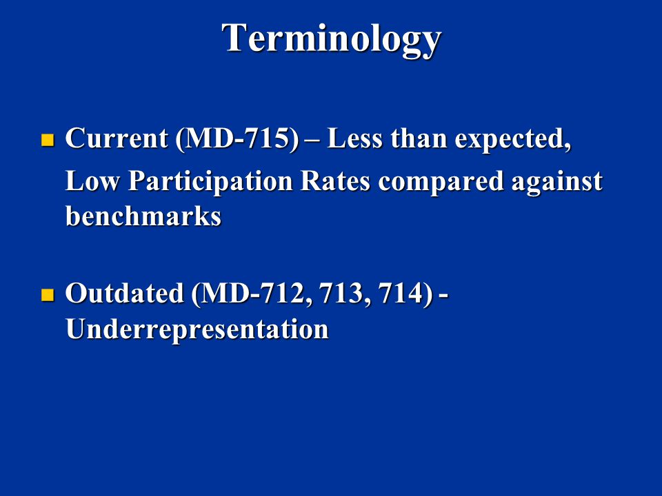 Terminology Current (MD-715) – Less than expected,