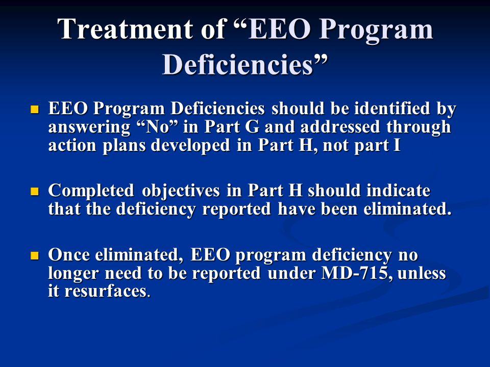 Treatment of EEO Program Deficiencies