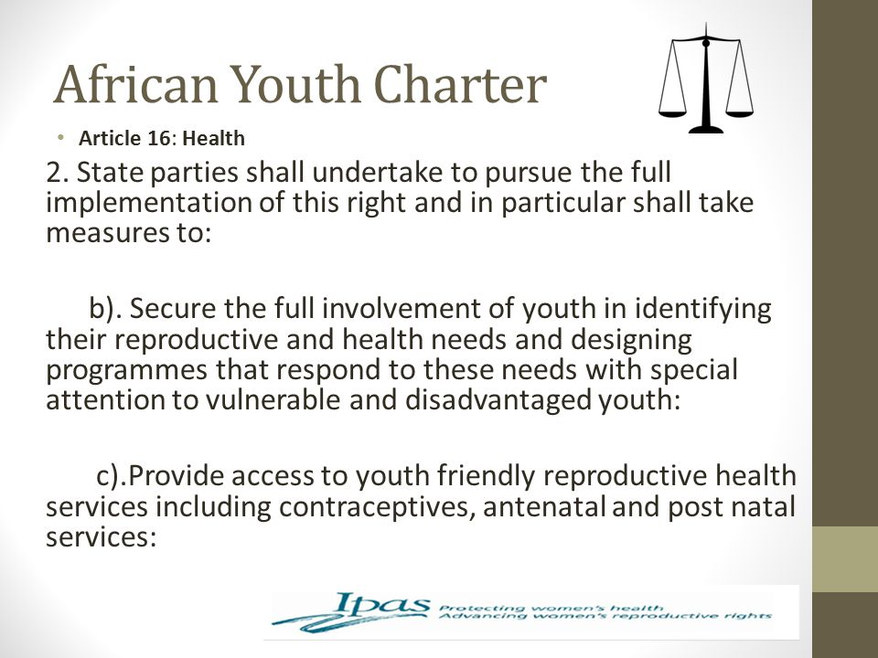 African Youth Charter Article 16: Health.